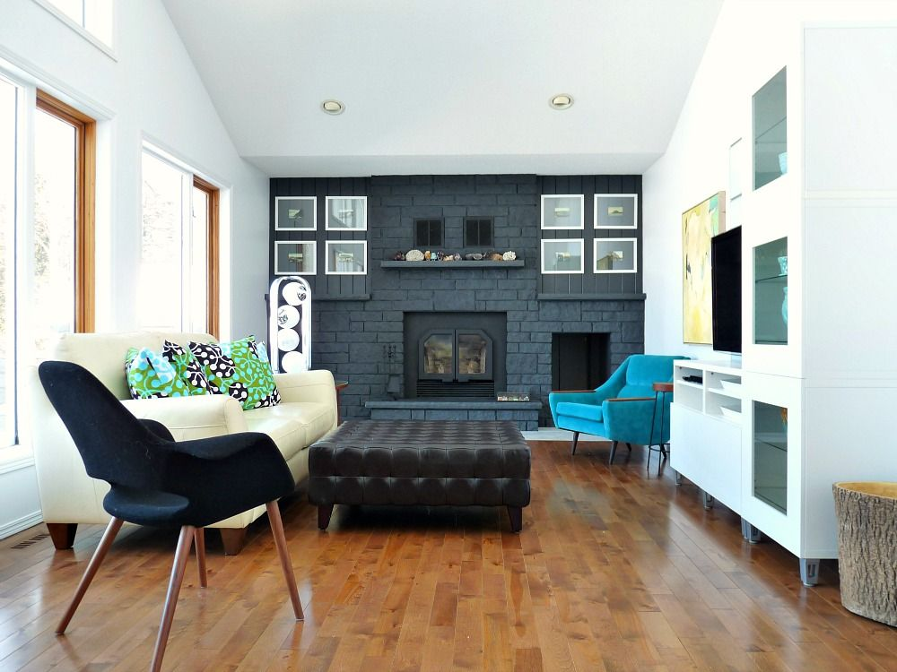 living room wall paint colors%0A Dark Gray Painted Fireplace Focal Wall