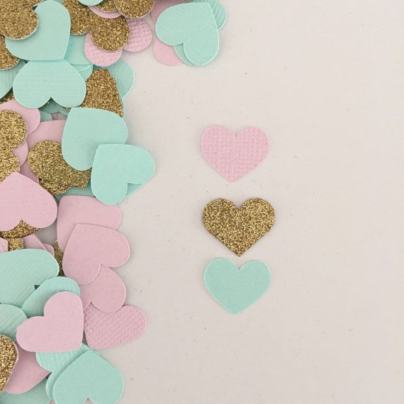 Pink And Blush Wedding Supplies Confetti Handmade Heart Table confetti In Rose Gold
