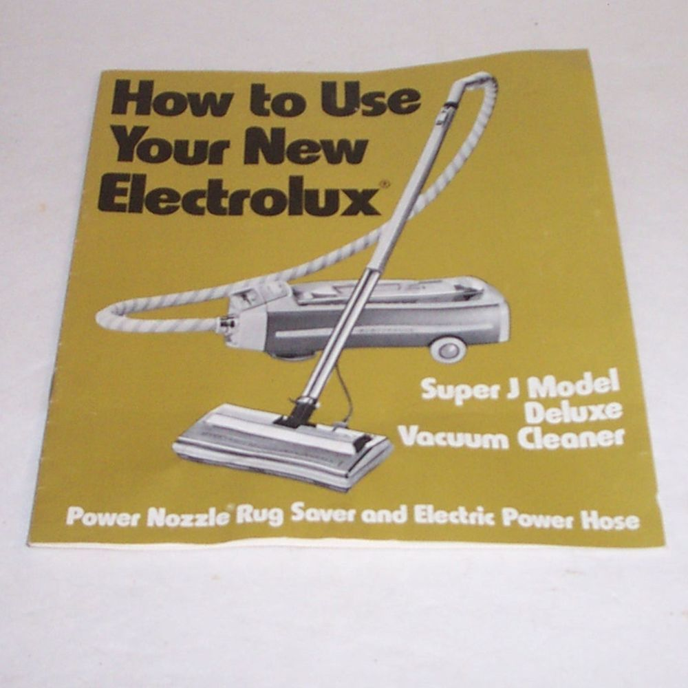 Electrolux Canister Vacuum Cleaner Owners Manual Super J