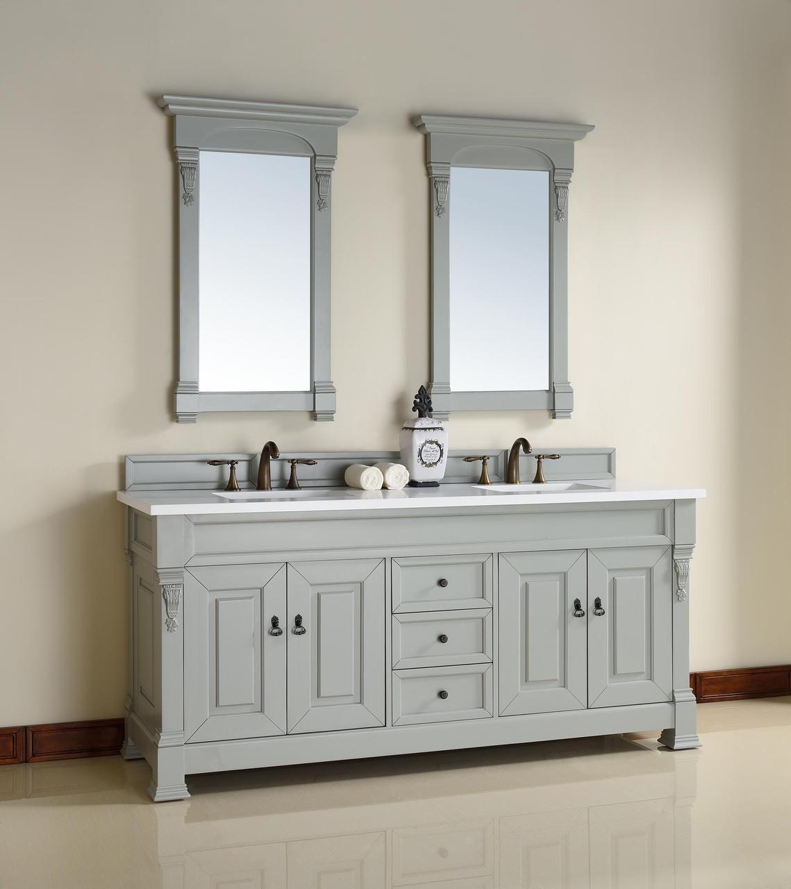 72 Inch Urban Grey Double Bathroom Vanity Optional Countertops