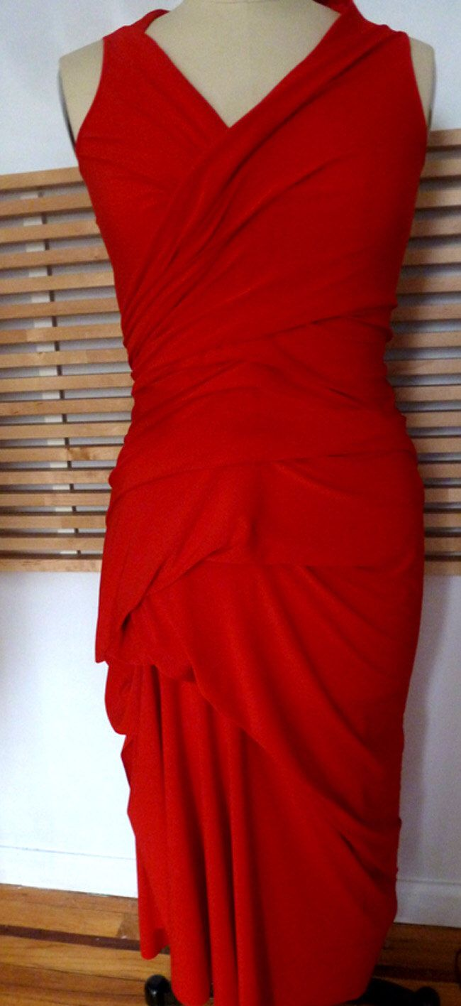 Red fitted long ity jersey v neck drape dress fanntasy pinterest