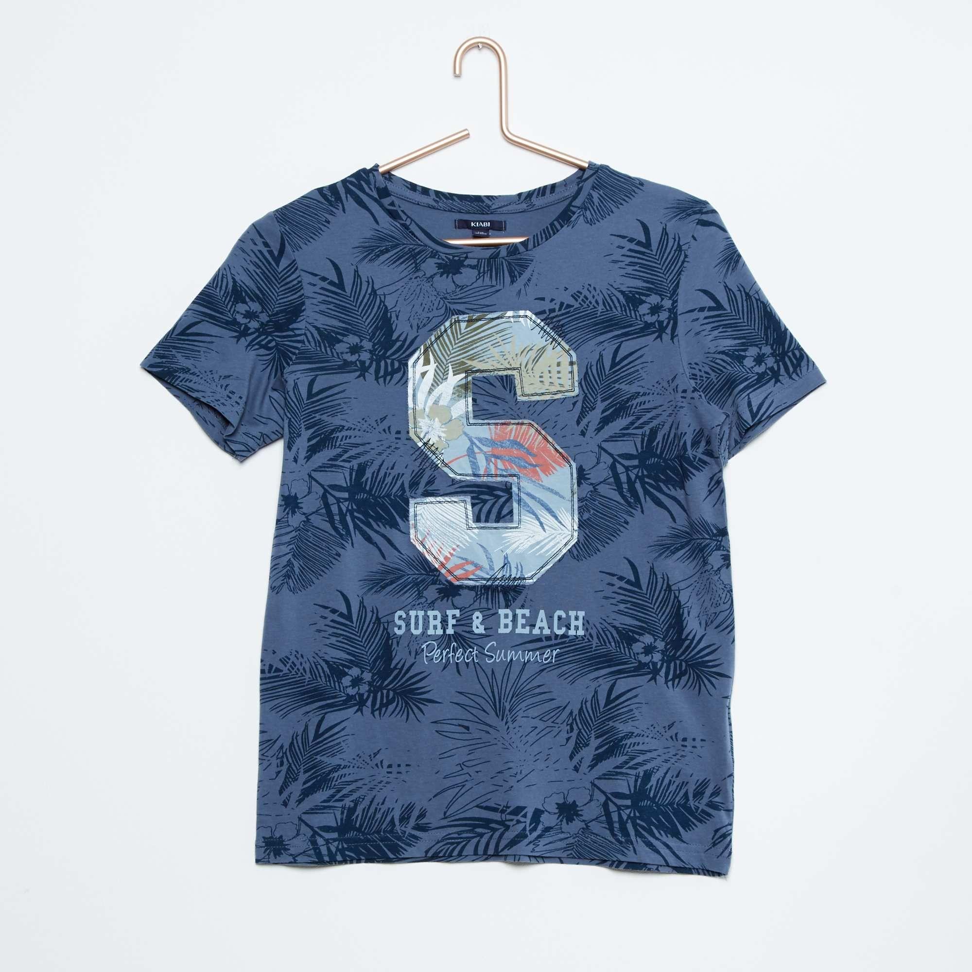 Camiseta de algodón con estampado de hojas Joven niño