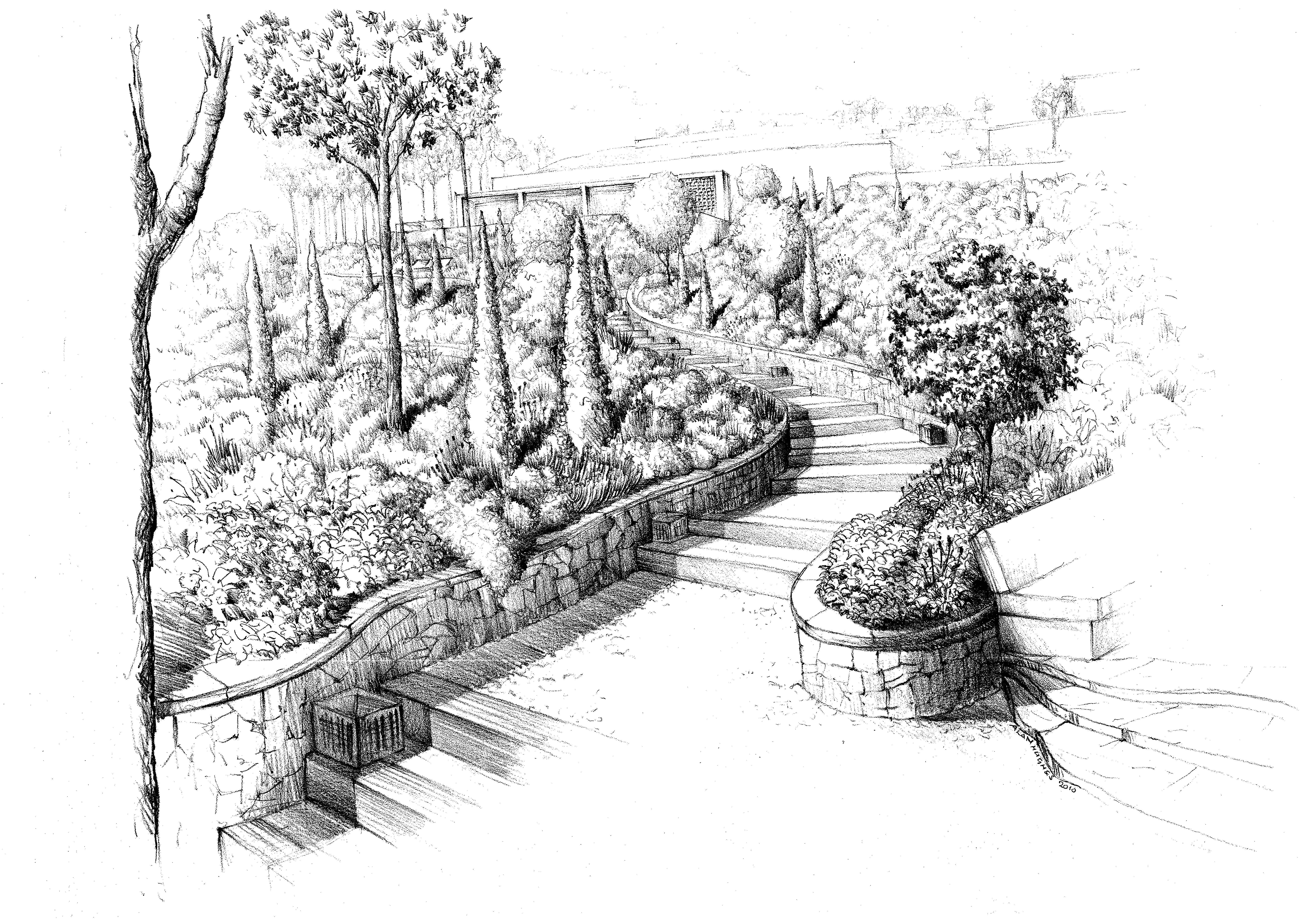 Coastal garden steps felt tip pen sketch alan hughes for Croquis jardin paysager