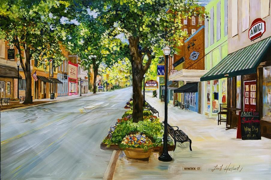 Pretty Painting Of Downtown Milledgeville Located Just Across The