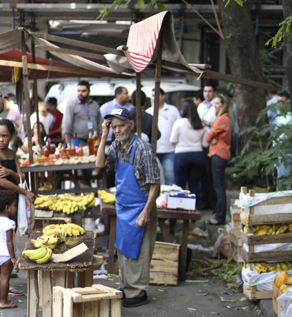 A banana Seller In The Rio Market