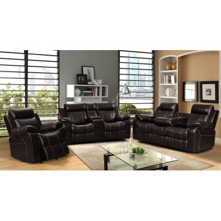 vivienne dark brown leather air 3 pc reclining sofa set with gliding rh pinterest com