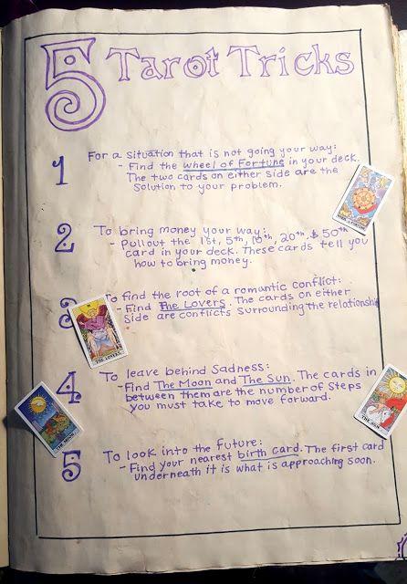 Kelsey's Craft Corner: Spell book pages from my DIY spell book; 5 Tarot Tricks #fullmoontarotspread