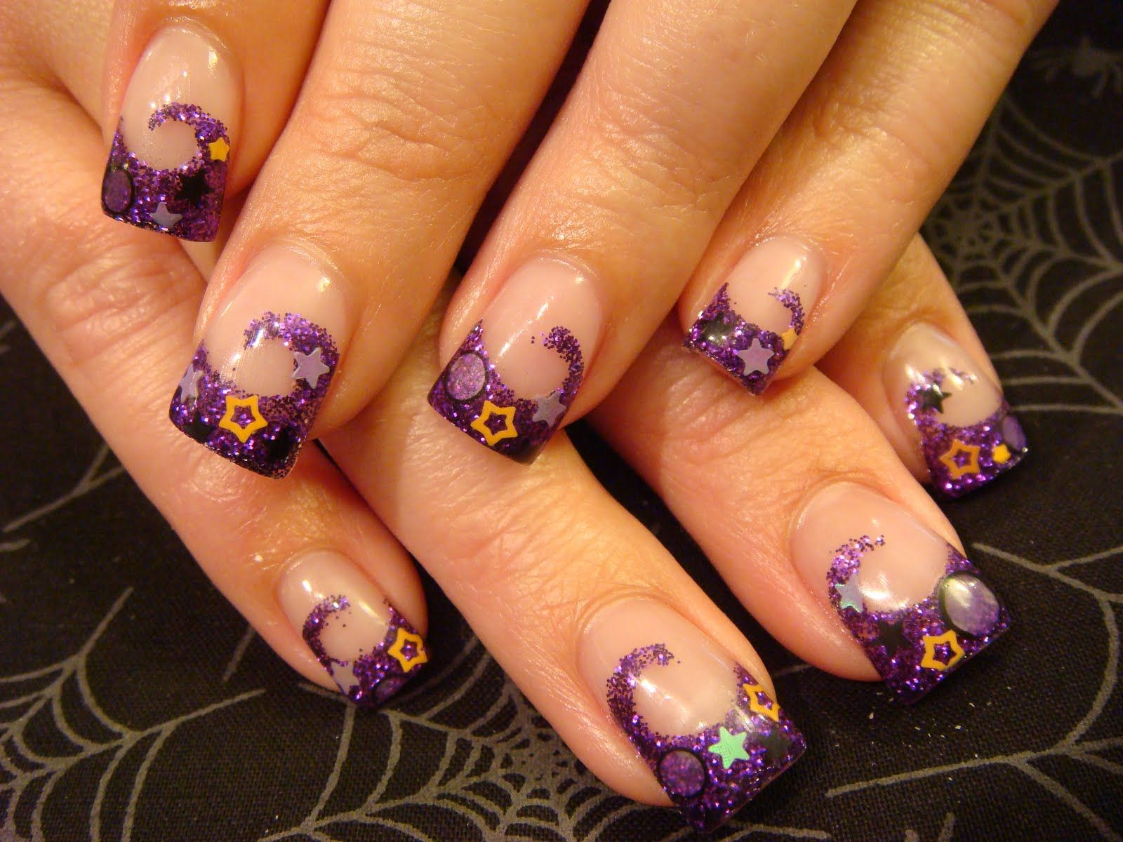 purple and blue nail designs | On these nails acrylic I faded green ...