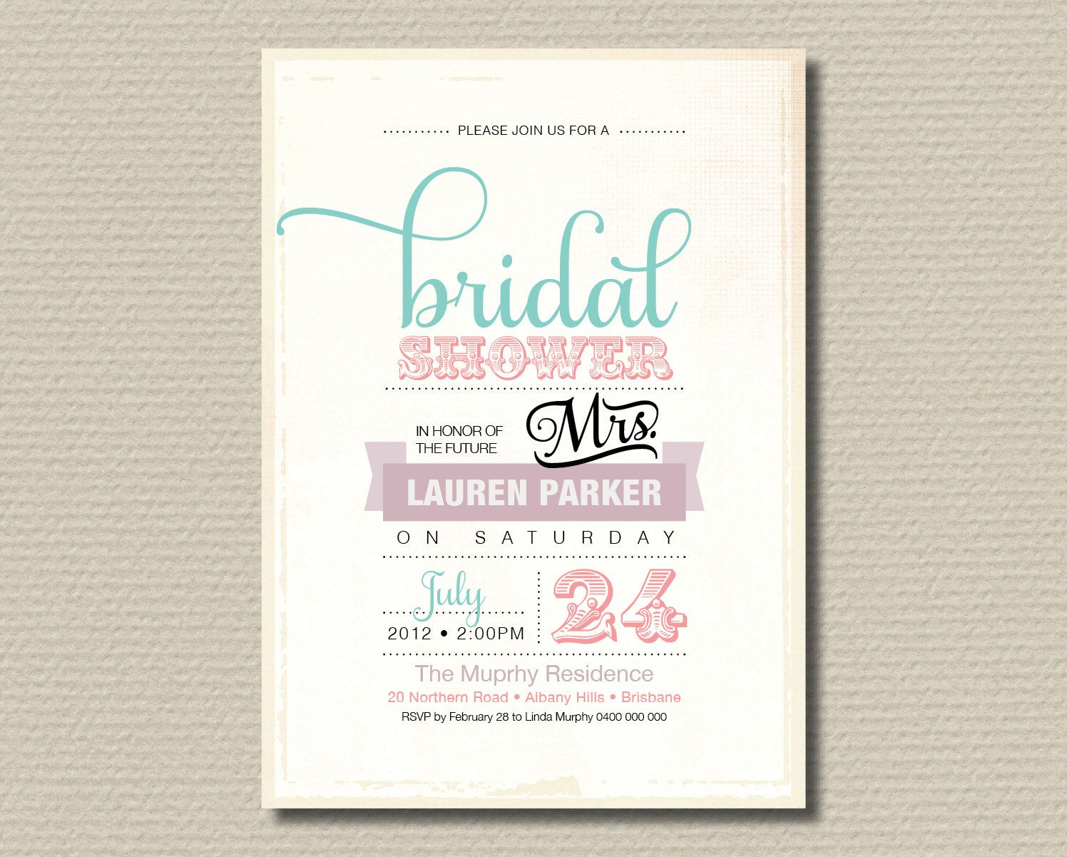 inexpensive wedding shower invitations%0A Printable Bridal Shower Invitation  Vintage Poster design with sweet  pastel colours  BR