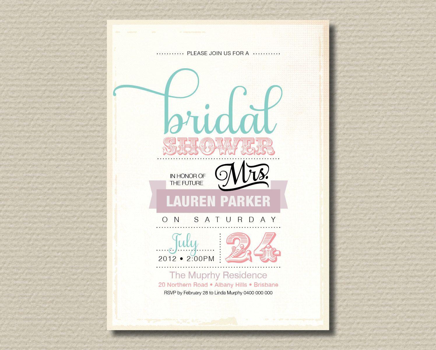 PrintableBridalShowerInvitationVintagebyrosiedaydesign1500 Printable Bridal Shower Invitation Vintage