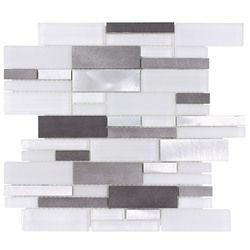 glass and metal mosaic tile midnight blend backsplash backsplash rh pinterest com