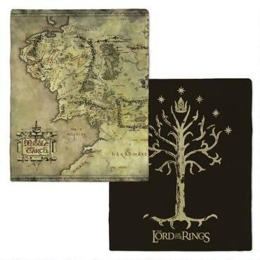 The Lord of the Rings Middle-earth Map and Tree of Gondor Fleece Throw Blanket |