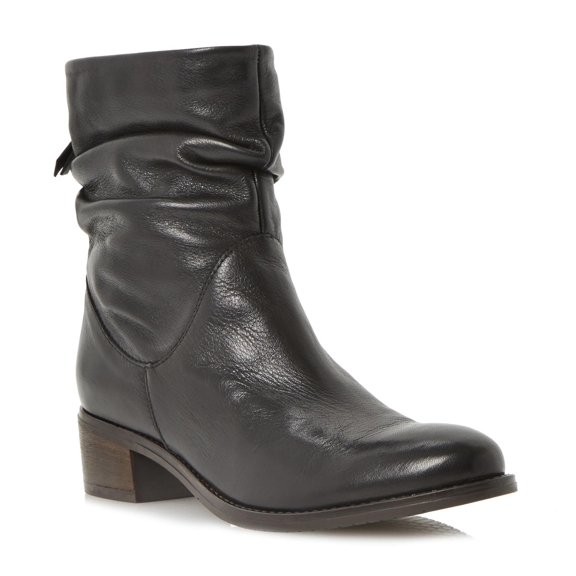 DUNE LADIES PAGER - Ruched Leather Block Heel Ankle Boot - black | Dune  Shoes Online