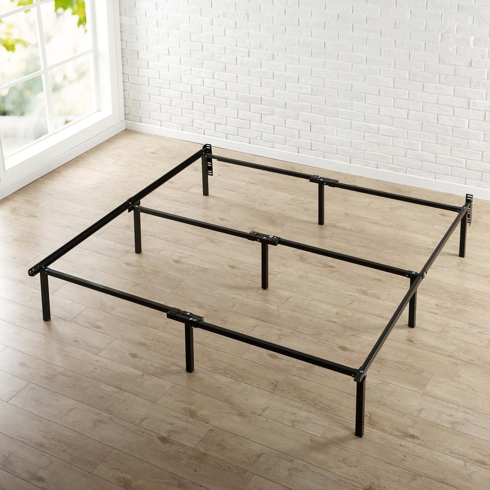 Cal-King Compact Bed Frame with 9-Legs and Center Bar, Black