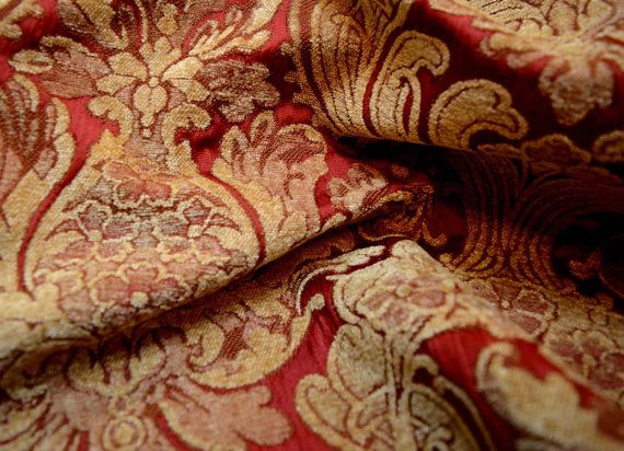 Large Red And Gold Damask Upholstery Fabric Balencia 137 Antique From Covington Designs