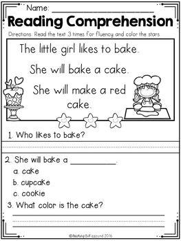 Free Kindergarten Reading Comprehension Passages Set 1 Free