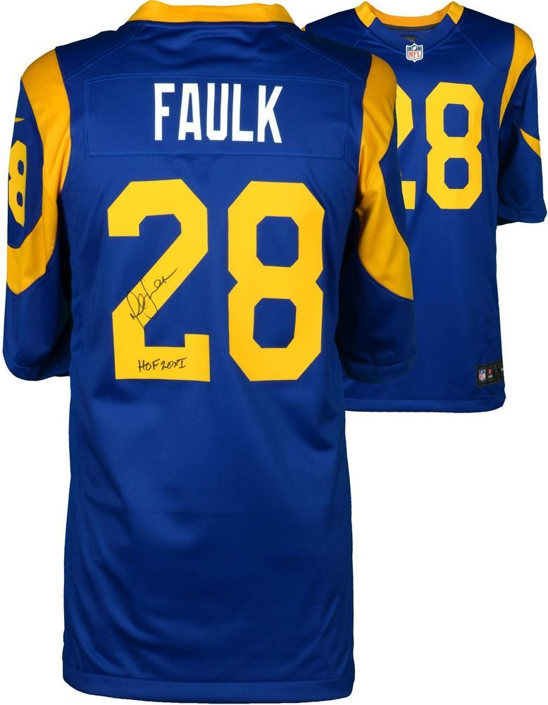 super popular f3f5d d262d Marshall Faulk St. Louis Rams Signed Blue Throwback Game ...