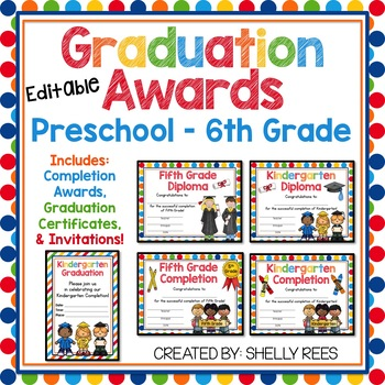 these colorful graduation certificates and grade completion awards