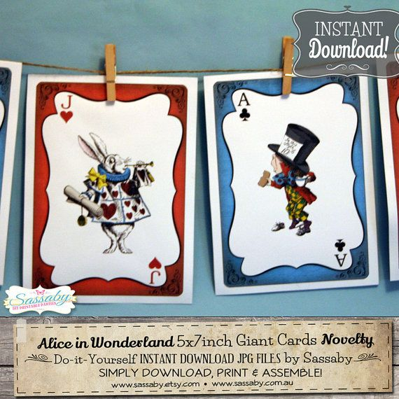 Alice in Wonderland Giant Cards  INSTANT DOWNLOAD  DIY by Sassaby