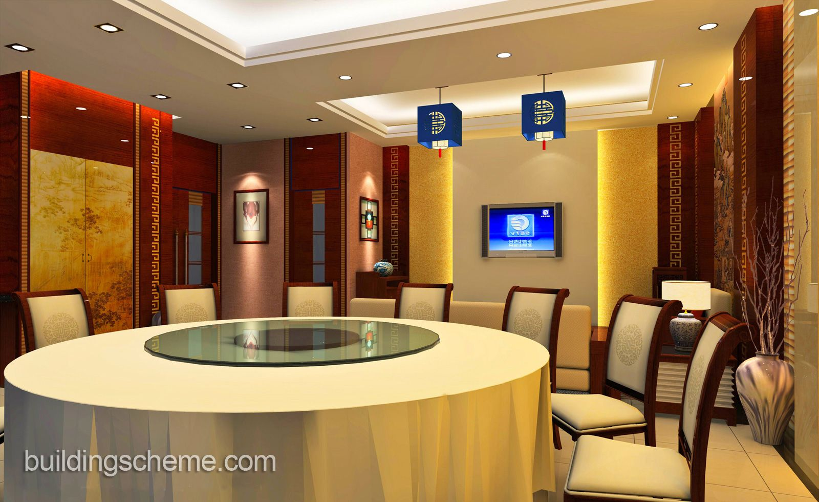 Cool Wallpaper Luxury Chinese Restaurant Interior Design And The Dining Table For 14 People