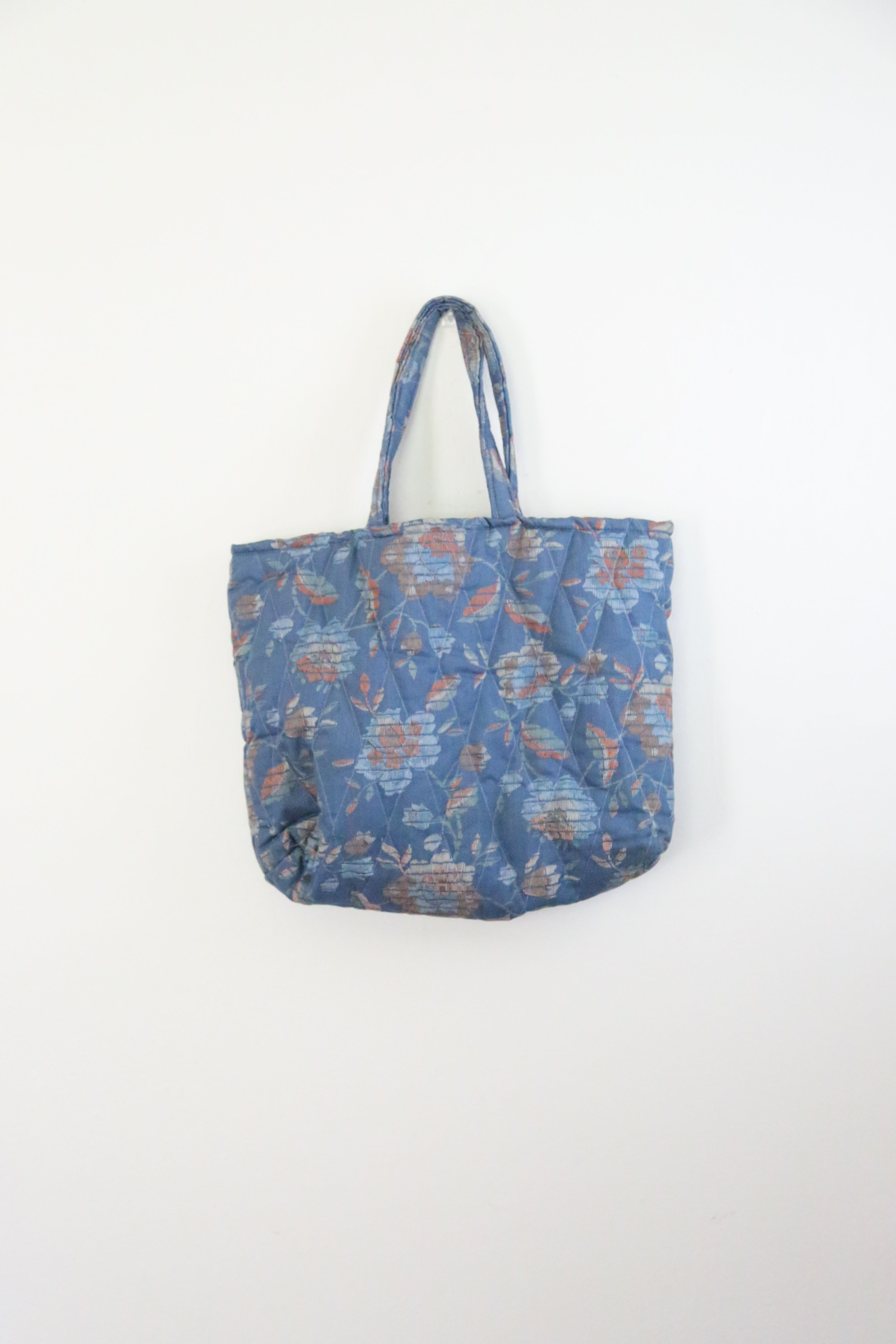 Vintage Indigo and Orange Large Quilted Floral Tote Bag // Ellen ... : quilted floral tote bags - Adamdwight.com