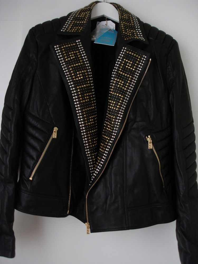 0f6f66445 Details about USED VERSACE H&M MENS JACKET COAT BIKER LEATHER 100 ...