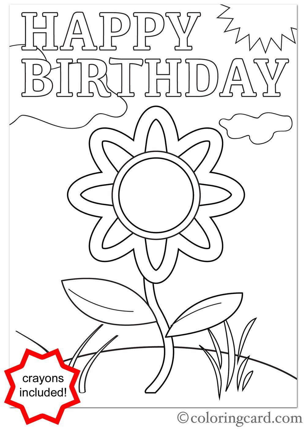 - Happy Birthday Coloring Card Awesome Free Printable Coloring
