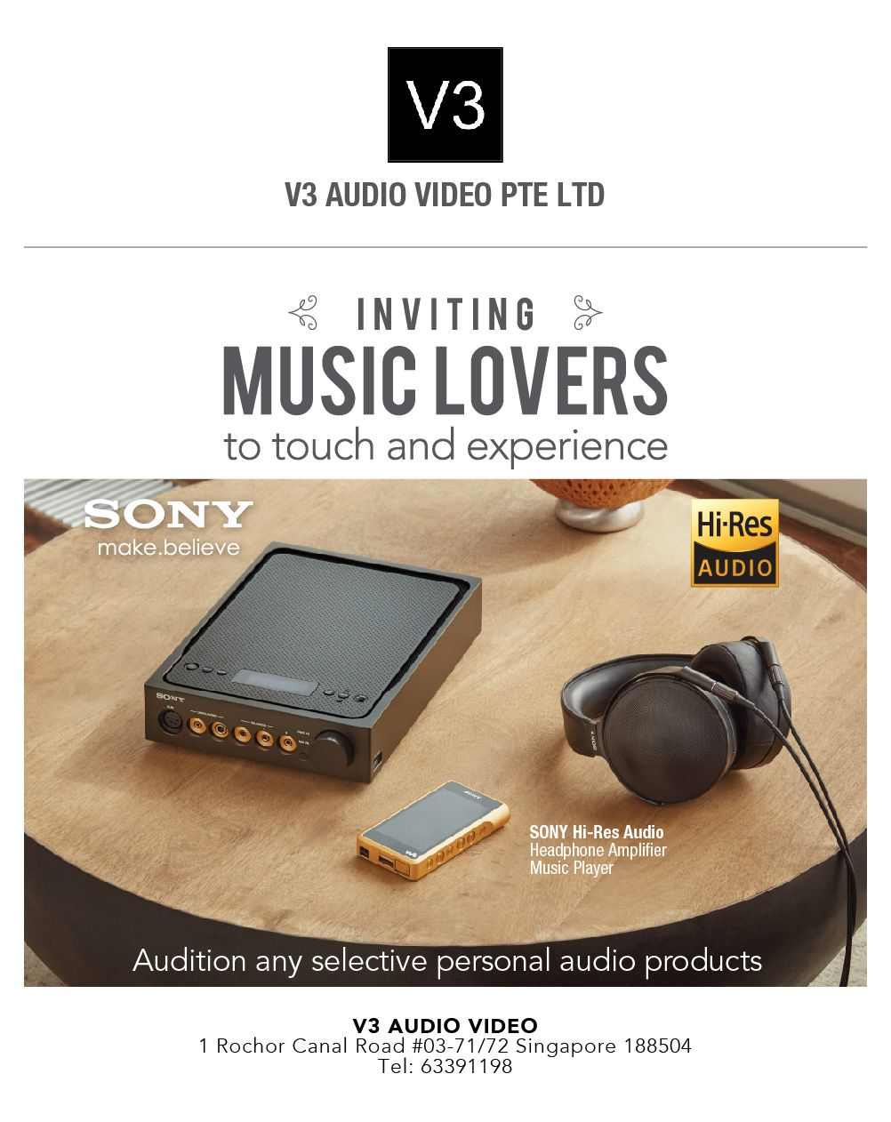 Sony Centre Sim Lim Square V3 Audio Video Pte Ltd Inviting All The Music Lovers To Touch Experience Sony Hi Audio Headphones Sony Headphones Audio Music
