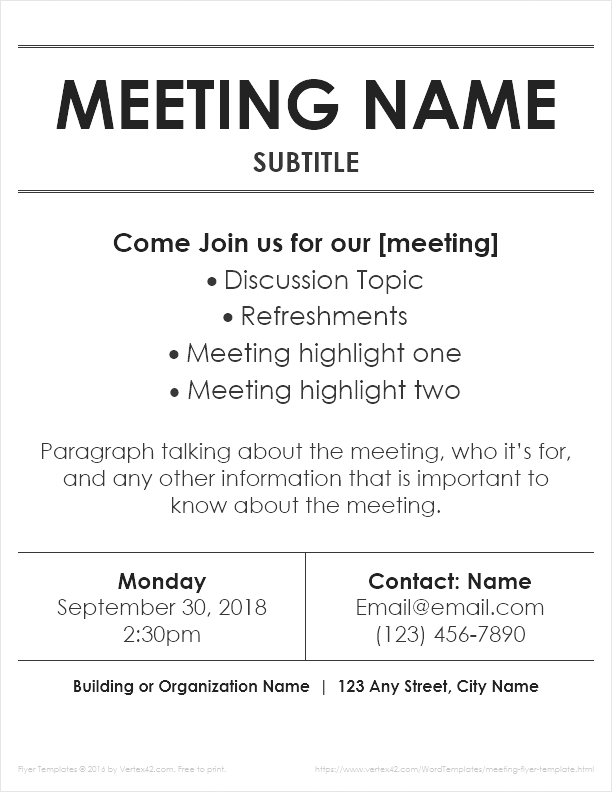 meeting flyer template by vertex42 com