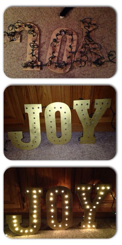 Make this beautiful light-up JOY sign in just a few minutes! sign#joy #christmas #diy