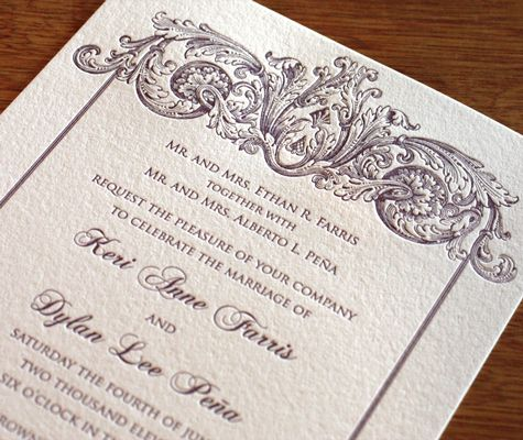 Formal letterpress wedding invitation by ajalon printing design formal letterpress wedding invitation by ajalon printing design stopboris Image collections