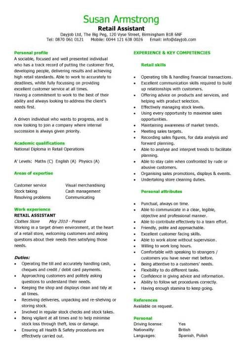 Interview winning example of how to write a retail assistant CV - retail store clerk sample resume