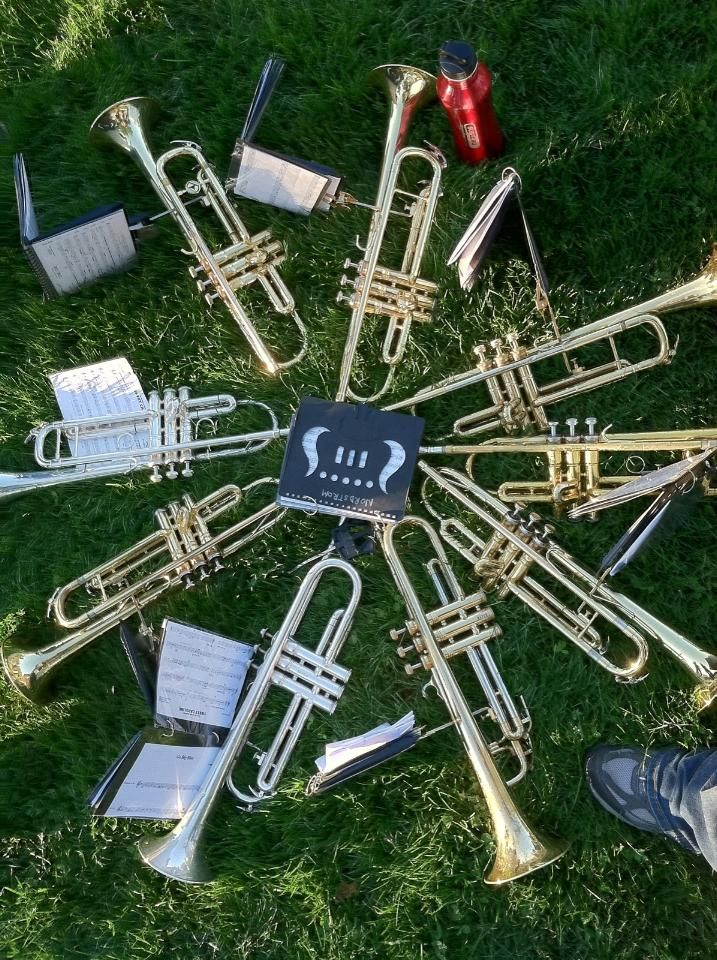 trumpets. This is how we need to line our horns up. Band