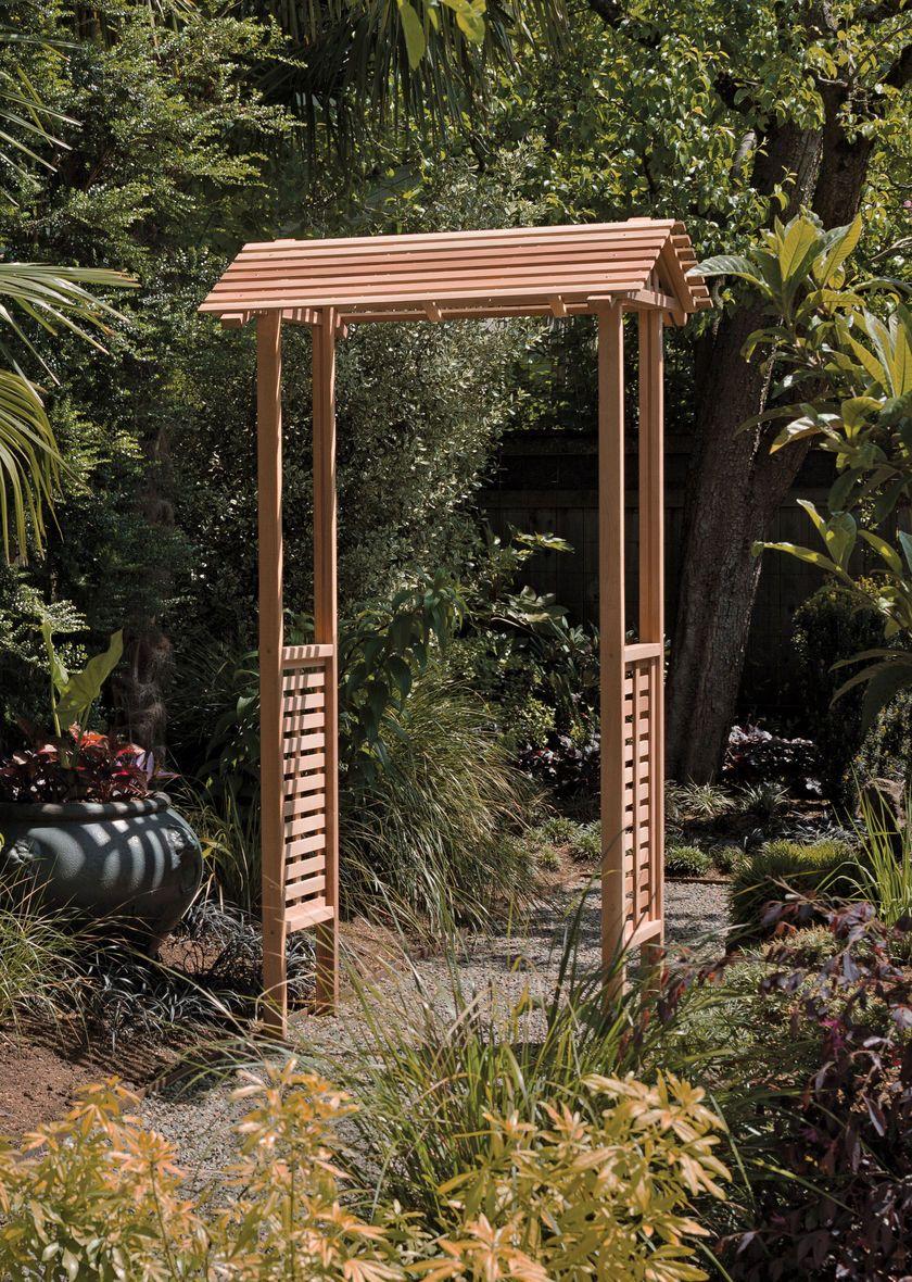 Unique Cedar Arbor has a Distinctive Gable Top | Garden Gates ...