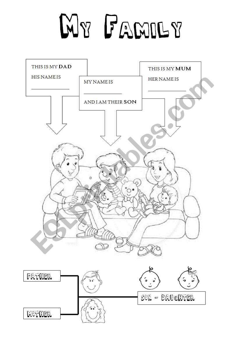 At Family Worksheets for Kindergarten My Family