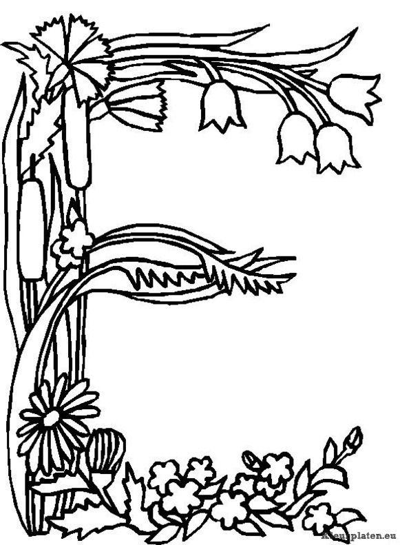 Kleurplaten Witte Tijger.Alfabet Bloemen Kleurplaat Sablon Betu Flower Alphabet