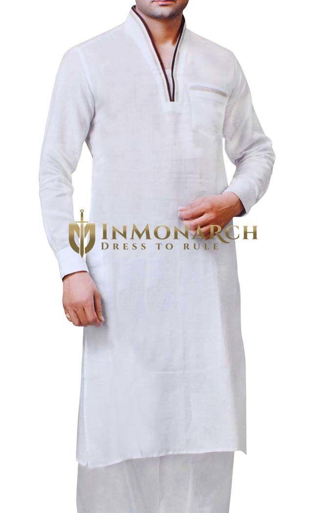 Mens White Linen Kurta Pyjama V Neck Pattern White Kurta Mens Kurta Designs Kurta Patterns