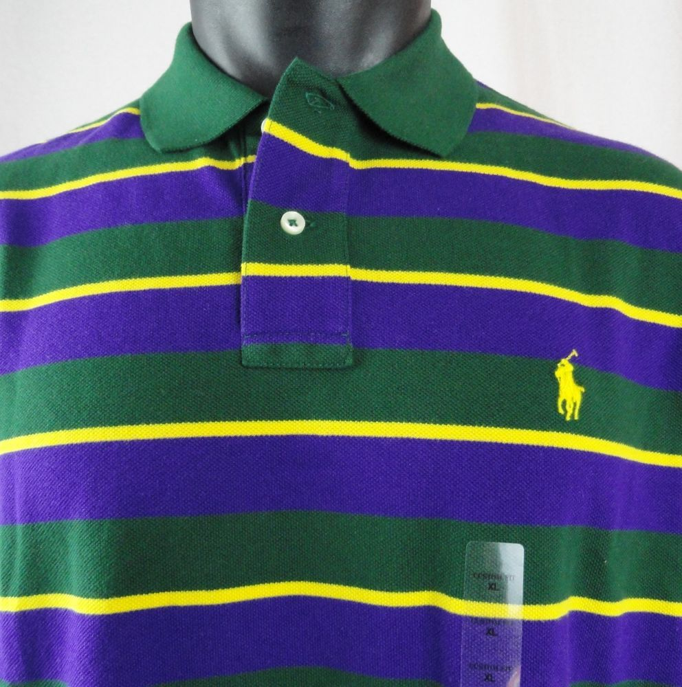 Nwt Polo Ralph Lauren Xl Mens Rugby Shirt Custom Striped Purple Green Yellow Ss Polphlauren Polorugby