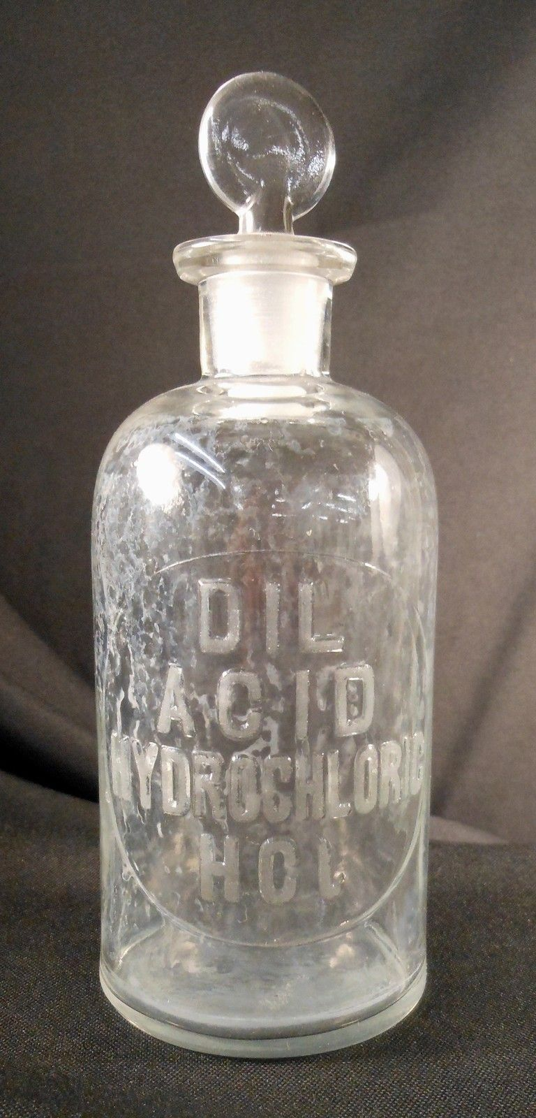 Vintage dil hydrochloric acid hcl glass chemical bottle for Retro glass bottles
