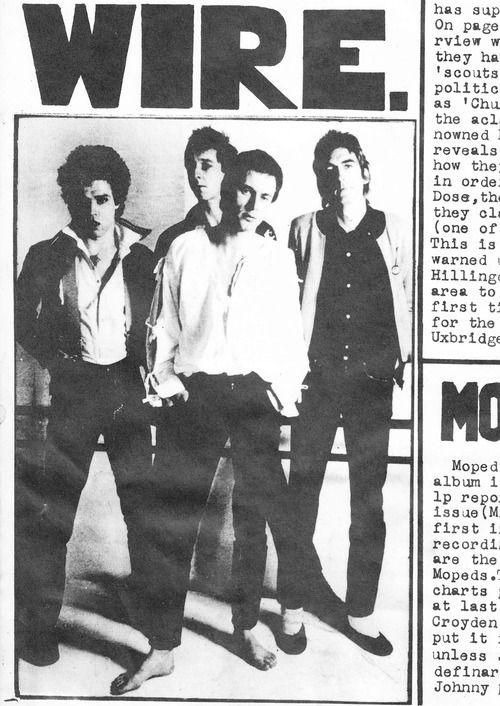 Wire, Sunday Mirra Fanzine, 1978 | Fanzine | Pinterest