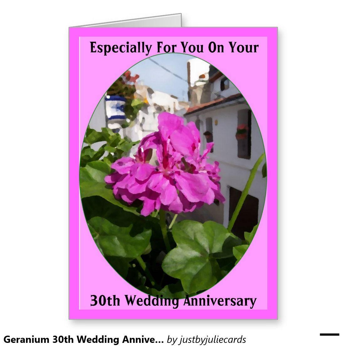 Geranium 30th Wedding Anniversary Card 30 Wedding Anniversary