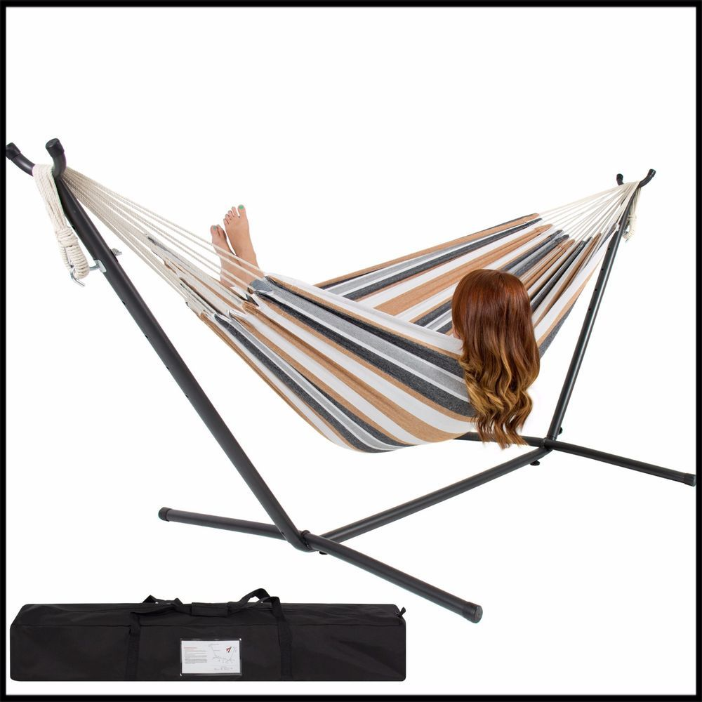 Double hammock chair bed camping portable outdoor space saving steel