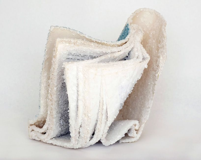 alexis arnold grows crystallized books using discarded literature