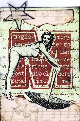 "ATC using ""lady with umbrella"" stamp by Viva Las VegaStamps!"