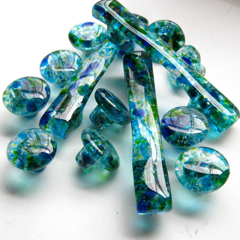 Decorative Kitchen Cabinet Hardware Knobs Glass Dresser Drawer Pulls Handmade Handles Functional Art Blue Green Unique