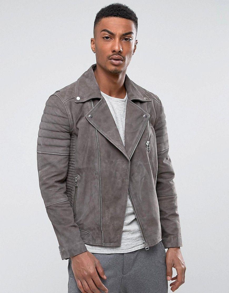 Selected Suede Biker Jacket Leather jacket, Grey suede