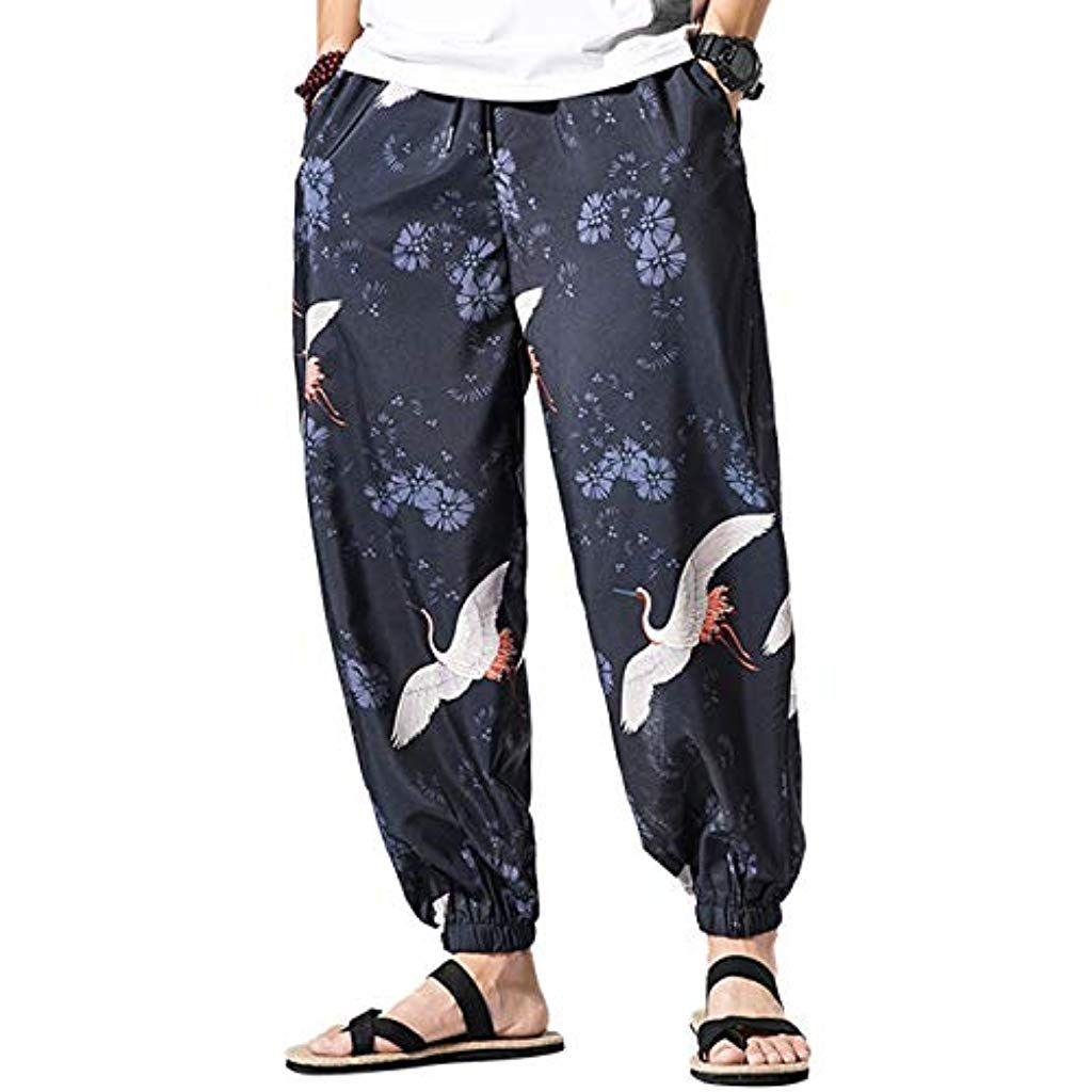 besbomig Pantaloni Aladino Harem Pantaloni Uomo Baggy Hippie