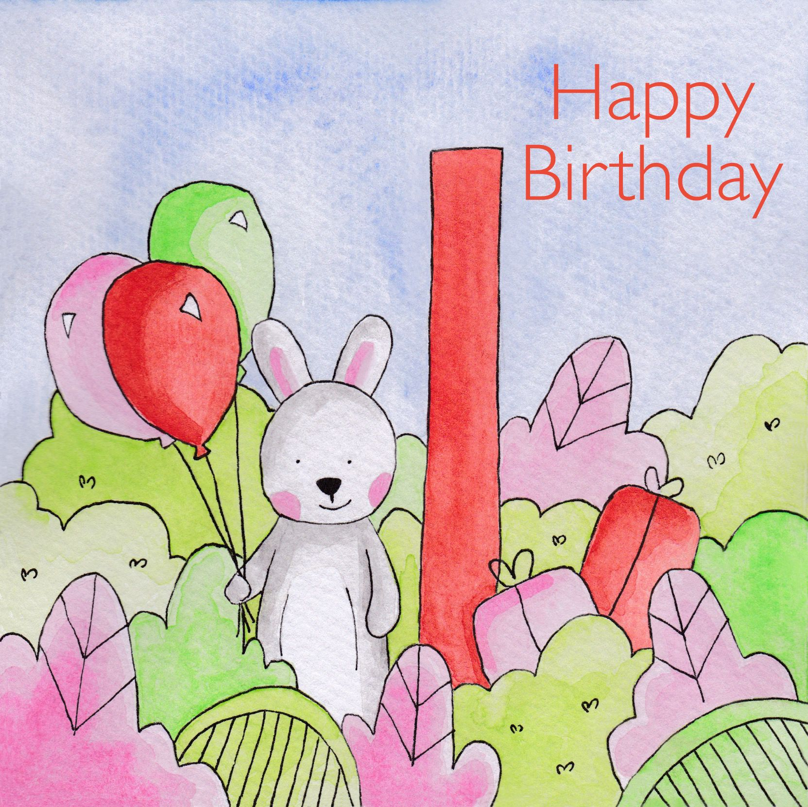 1st Birthday Card For Boys And Girls 2 50 Birthday Rabbit Watercolour Contemporary Blank Cards 1st Birthday Cards Birthday Cards For Boys Happy 2nd Birthday