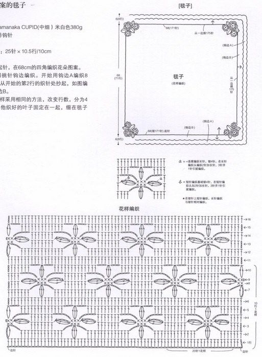 1-12.jpg (513×699)   Crochet cobijas   Pinterest   Manta, Mantita ...