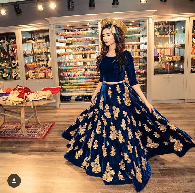 Navy Blue Gold Velvet Bridal Lengha Dream